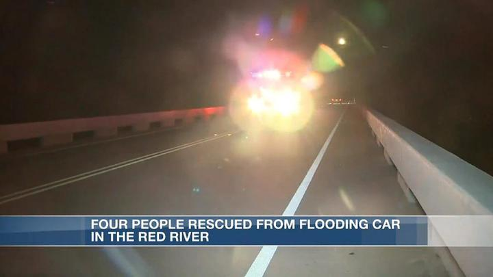 Cover for Four people rescued from island in Red River