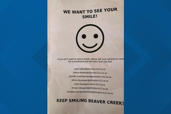 Picture for Anti-mask flyer put into backpacks of Johnston elementary students without consent of parents