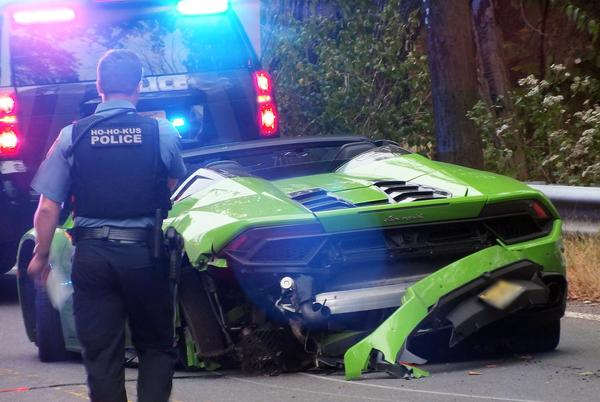 Picture for Bright Green Lamborghini Heavily Damaged in 3 Vehicle Accident on East Saddle River Road in Ho-Ho-Kus