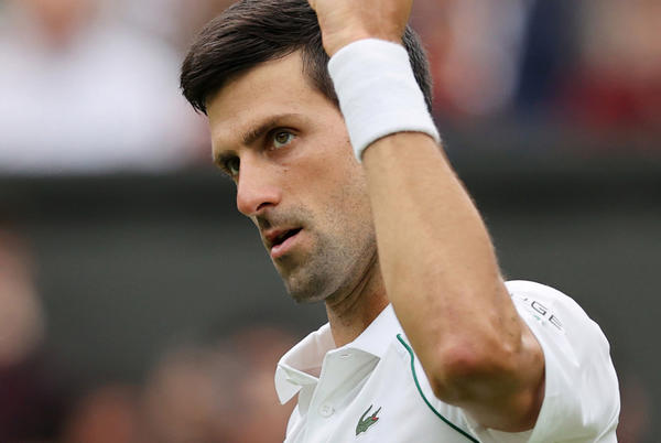 Picture for Wimbledon superfan holds shirtless photo of Novak Djokovic during match