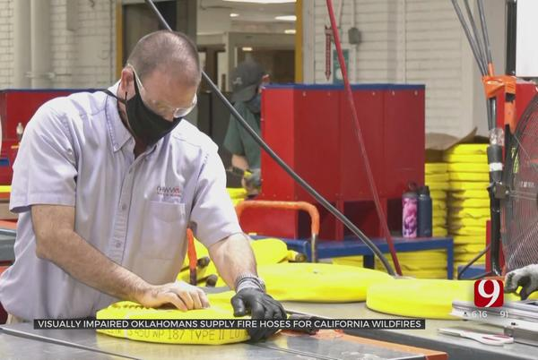 Picture for Oklahomans With Vision Impairment Manufacturing Fire Hoses For California Wildfires