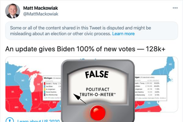 Picture for No, Biden did not receive thousands of mysteriously surfaced votes in Michigan