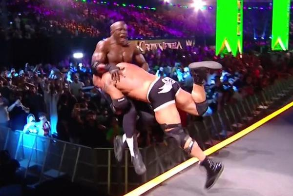 Picture for Watch: Goldberg Spears Bobby Lashley Off The Entrance Ramp at WWE Crown Jewel 2021