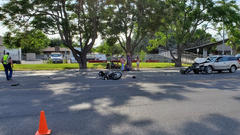 Cover for Motorcyclist in extremely critical condition, Redwood Road closed