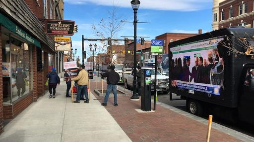 The Other Protest Pro Trump Truck Flashes High Wattage Tv Clips About Dems Outside New Hampshire Climate Town Hall News Break
