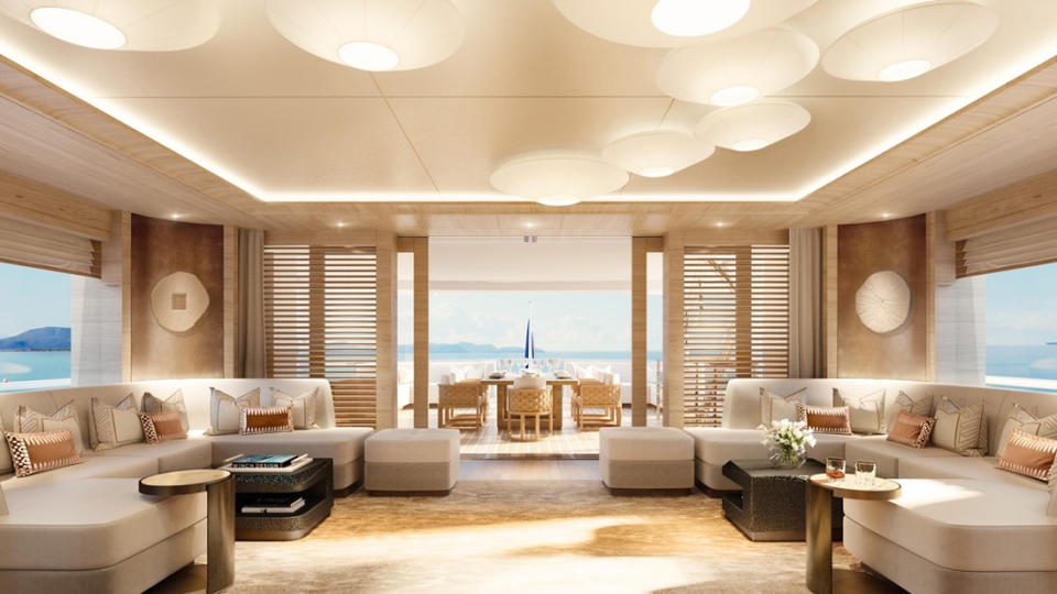 The Designers Of This 197 Foot Superyacht Marshaled Organic Shapes To Create A Plush Warm Interior News Break