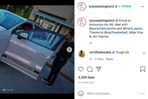 Picture for Former UA target TyTy Washington announces NIL deal with Porsche dealer in Louisville