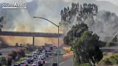 Cover for Brush Fire Burns 20 Acres Near Fairfield, Temporarily Closes Southbound Lanes of I-680