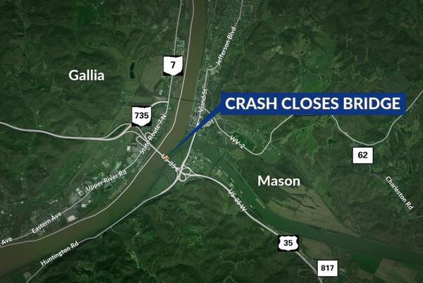 Picture for Route 35 crash closes Silver Memorial Bridge between West Virginia and Ohio