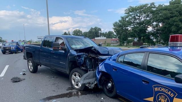 Picture for MSP patrol vehicle rear-ended during traffic stop