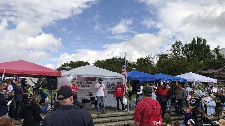 Cover for Hundreds protest Oregon vaccine, mask mandates in Salem