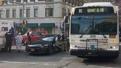 Cover for Centro bus collides with car in downtown Syracuse; woman driving car injured
