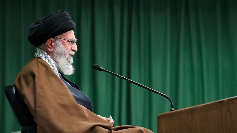 Picture for Iran's supreme leader, quoting Trump, mocks US election