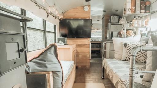A 300 Square Foot School Bus Is A Cozy Rustic Home On Wheels News Break