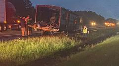 Cover for Camper fire closes down I-20 Westbound lanes temporarily