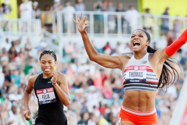 Picture for 200-meter champion Gabby Thomas, inspired by Allyson Felix, looks to create legacy on and off the track