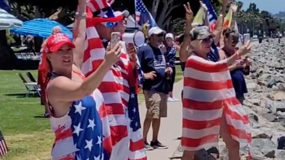 Picture for Trump birthday: Fans celebrate ex-president's 75th with 'Trumparilla MAGA Fest' boat parade in San Diego