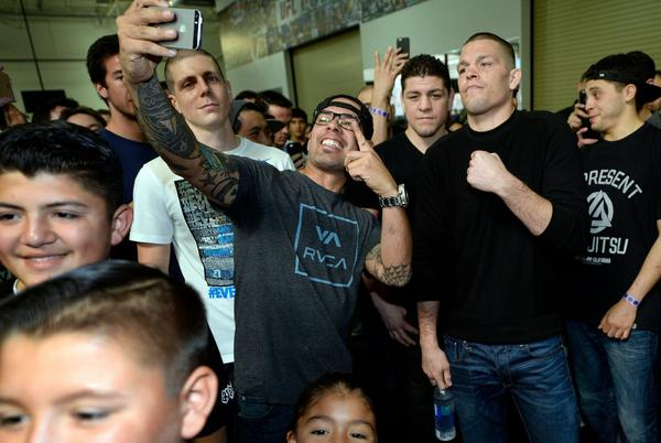 Picture for Nate Diaz clicks selfies with fans outside of Mikey Garcia vs Sandor Martin fight