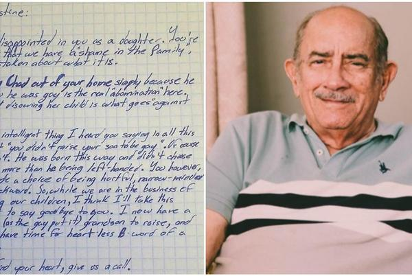 Picture for Grandpa writes powerful letter disowning daughter after she kicked her gay son out of the house
