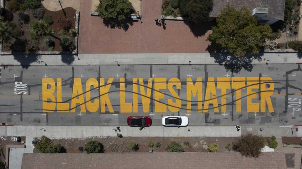 """Picture for Gigantic Black Lives Matter mural """"crossed out"""" in act of vandalism; police investigating act as hate crime"""