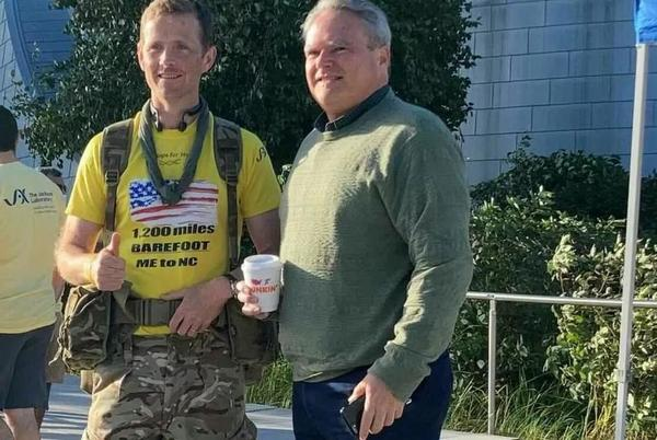 Picture for British soldier walking barefoot 1,200 miles from Maine to North Carolina to raise money for research into daughter's rare genetic disease