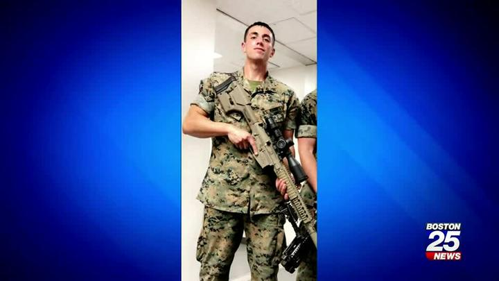Cover for Marine stabbed while trying to help a woman being attacked