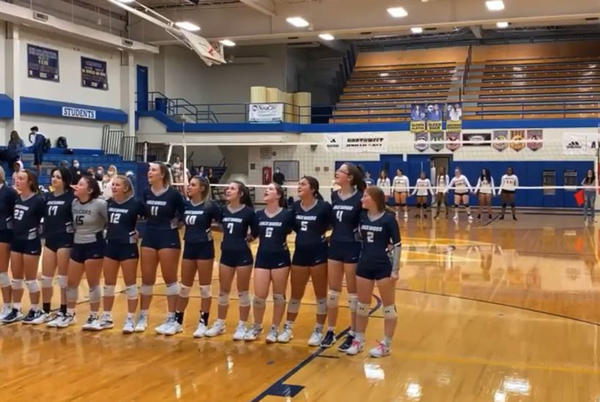 Picture for VIDEO: Local high school volleyball team sings National Anthem after technical issue