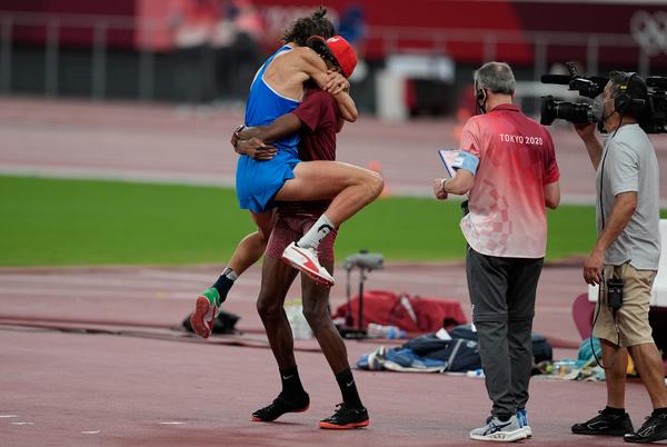 Picture for High jumpers from Qatar, Italy decide to share gold medal; emotional celebration ensues