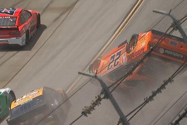 Picture for Brad Keselowski wins at Talladega with overtime pass; Joey Logano involved in airborne wreck