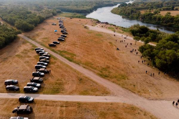 Picture for Governor Greg Abbott Approves Miles-Long Barrier Of Police Vehicles To Deter Migrants In Del Rio