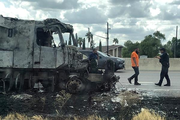 Picture for Tractor rig destroyed by fire on expressway