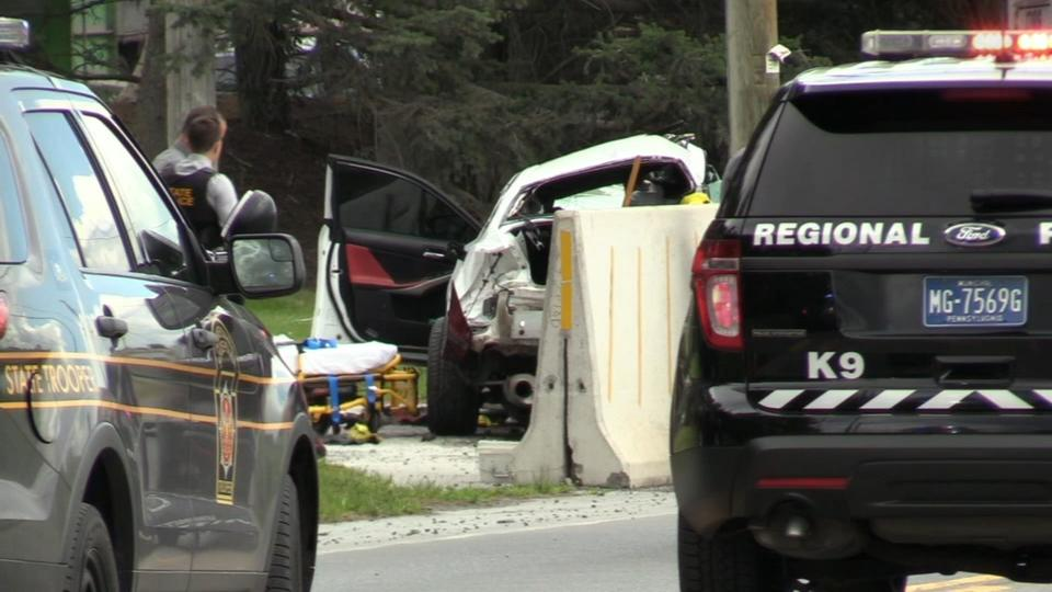 Picture for Driver killed after car fleeing traffic stop hits SUVs, barrier in Nazareth, Pa.