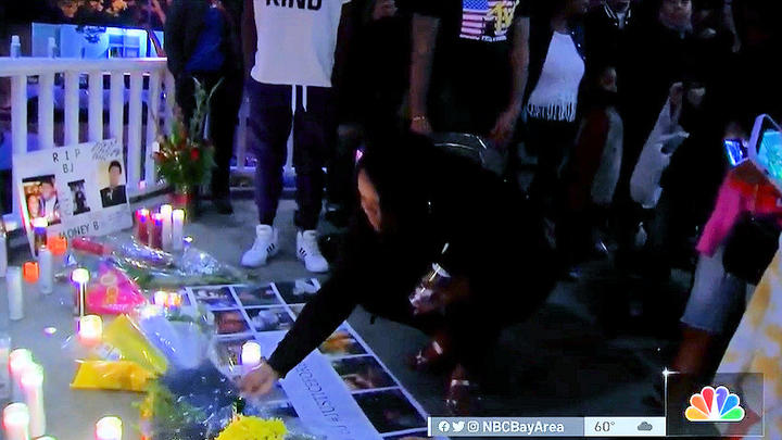 Cover for Family, friends demand answers at Bay Area vigil for downtown Bend shooting victim