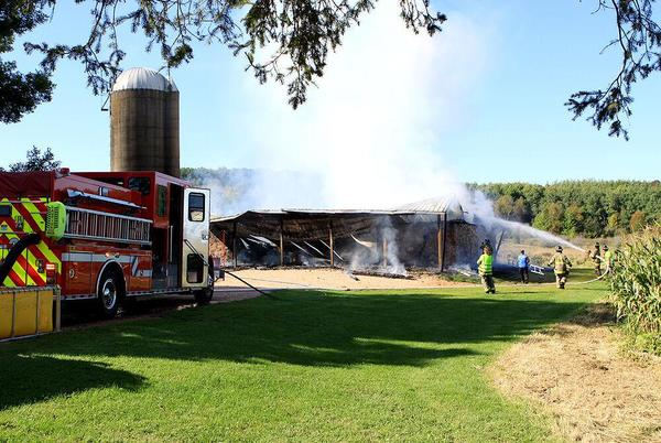 Picture for Cameron, Rice Lake crews battle barn fire