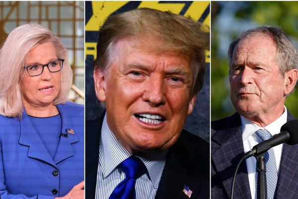 Picture for Donald Trump mocks Republican nemeses by sending his fans a bizarre meme of Liz Cheney and George W. Bush's faces morphed together