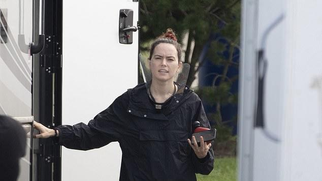 Picture for Daisy Ridley wanders around set makeup-free as she prepares to shoot scenes for forthcoming film The Marsh King's Daughter in Toronto