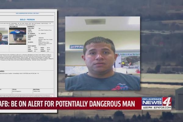 Picture for Tinker Air Force Base warns of dangerous suspect in BOLO notice to employees