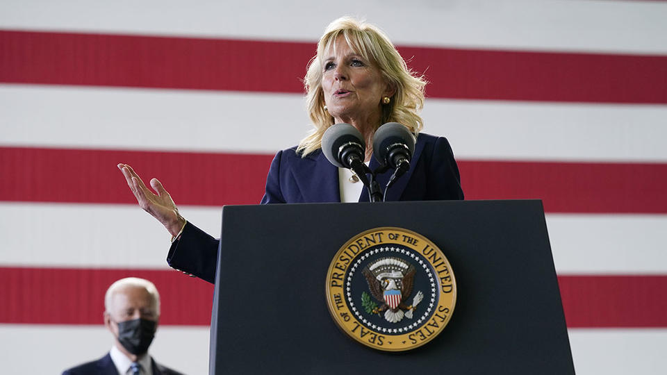 Picture for Jill Biden also has a message on a jacket. Will Europe get it?