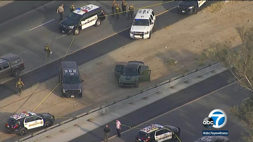 Picture for Chase ends after deputies open fire on 215 Freeway near Menifee