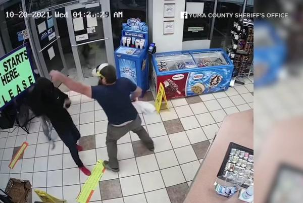 Picture for Video shows Marine veteran single-handedly disarming robber at gas station in Arizona