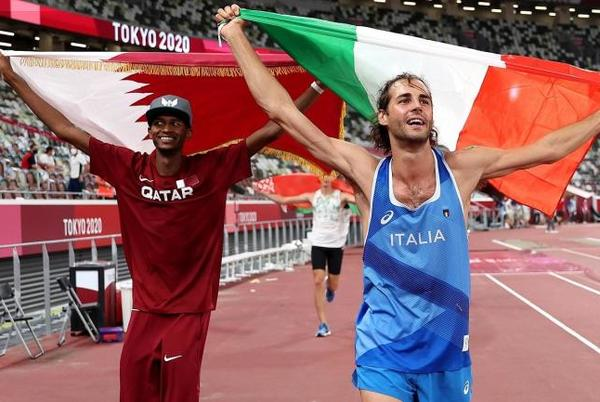Picture for 2020 Tokyo Olympics: High jumpers Mutaz Essa Barshim of Qatar and Gianmarco Tamberi of Italy share gold medal