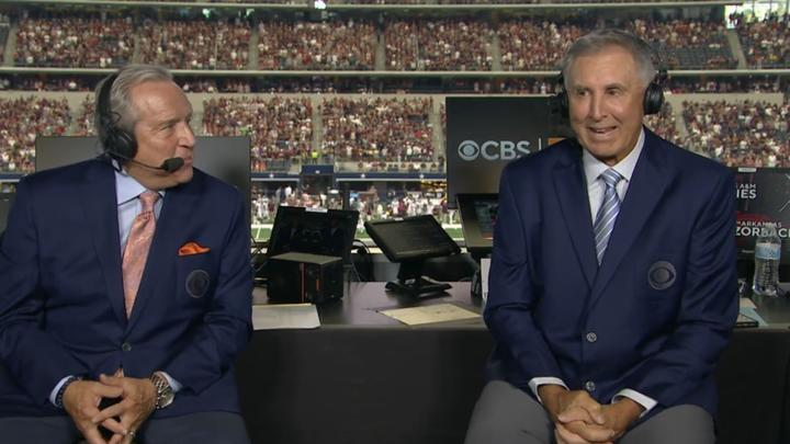 Cover for Gary Danielson getting called out for CBS broadcast of Arkansas vs. Texas A&M