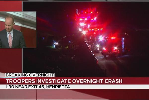 Picture for Troopers investigating overnight crash on Thruway in Henrietta