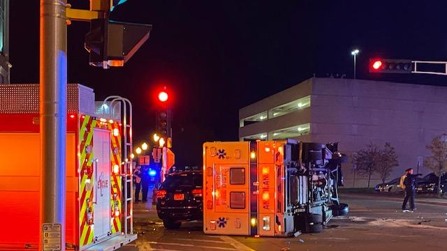 Cover for Ambulance overturns in downtown Wausau