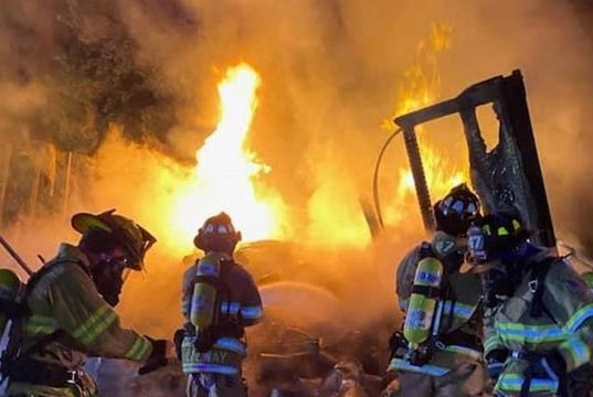 Picture for Tractor-trailer carrying flammable and hazardous materials goes up in flames