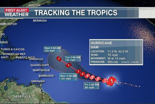 Picture for Sam now a hurricane; More strengthening expected