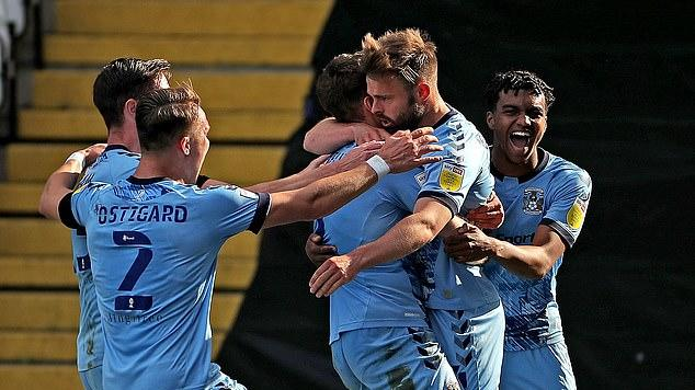 Picture for Coventry 2-0 Barnsley: Sky Blues move within inches of survival as Dom Hyam and Matt Godden strike... Mark Robins' side can now start looking ahead for return home to Ricoh Arena