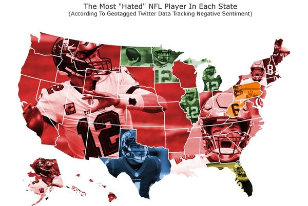 Picture for Tom Brady is 'most-hated' NFL player in 36 states, Michigan picks Aaron Rodgers
