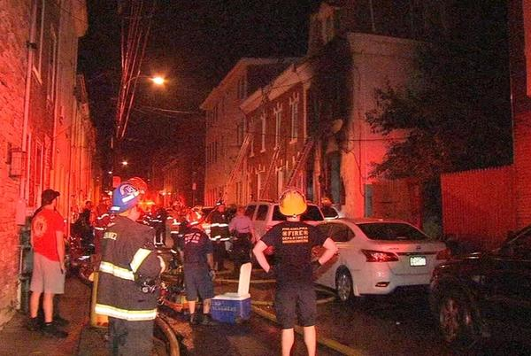 Picture for 4 injured, including firefighter, following 3-story rowhome fire in Manayunk