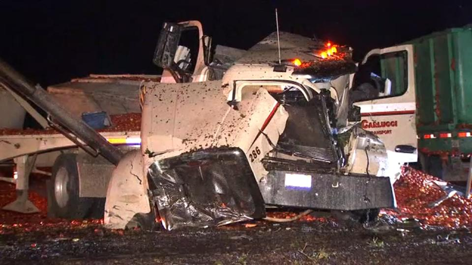 Picture for 1 hospitalized after semi trucks carrying grapes, tomatoes collide in Fresno County